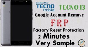 Tecno i3 Frp Unlock Google Account Lock Remove Done Using Sp tools