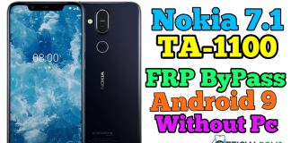 Nokia 7.1 (TA-1100) frp Bypass Android 9 Without Pc