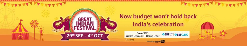 amazon diwali sale 2019 Great India Festival Start 29 Sep - 4 Oct