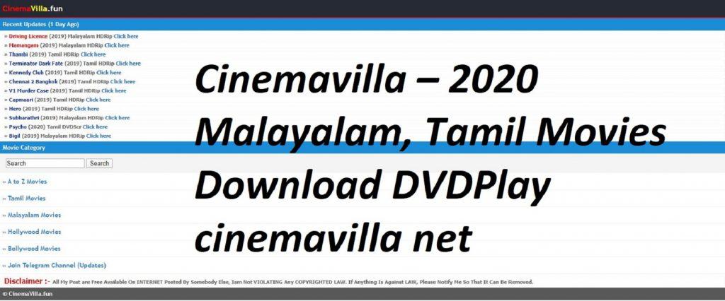 Cinemavilla – 2021 Malayalam, Tamil Movies Download DVDPlay cinemavilla net