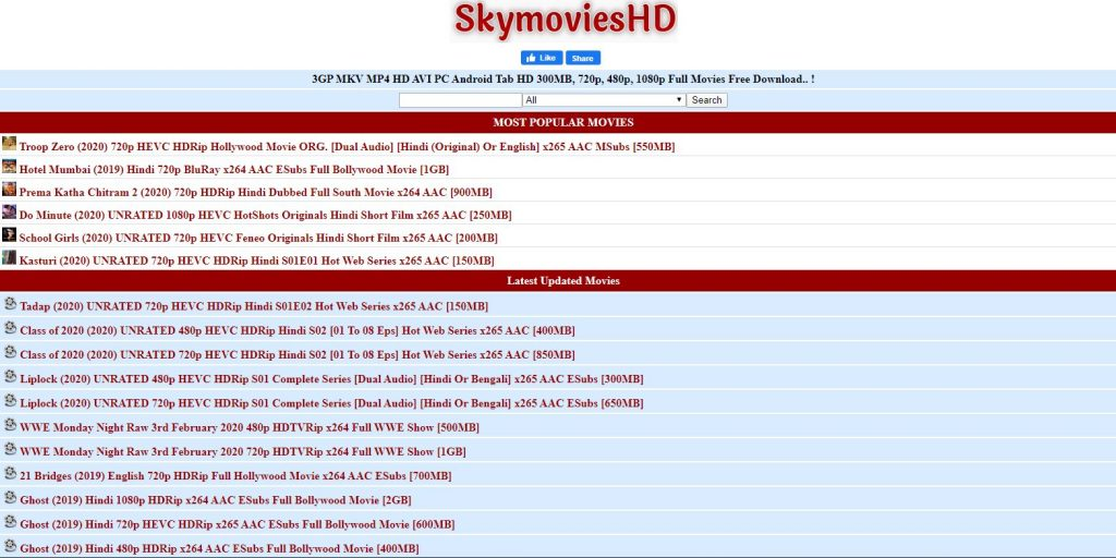 Skymovies 2020 – Latest Hollywood, Bollywood Movies & Series