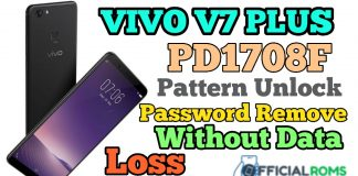 Vivo V7 Plus PD1708F Screen Lock Remove Without Data Loss