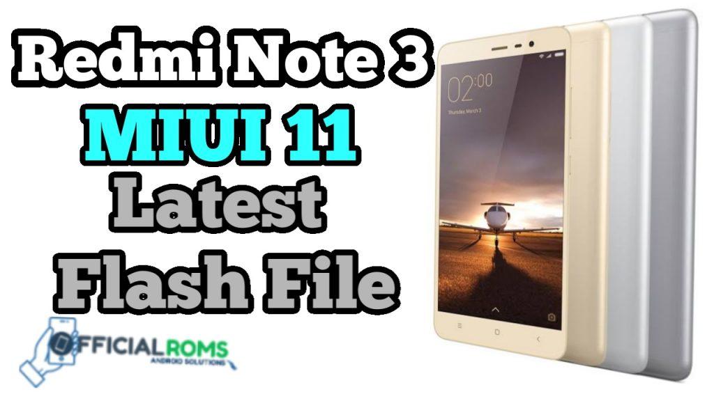 Mi Note 3 Flash File