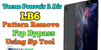 Tecno LB6 Frp Bypass & Pattern Unlock Without Box