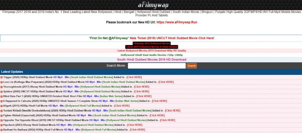 afilmywap 2020 Latest Movies Hollywood Dubbed Movies