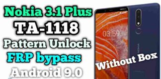 Nokia 3.1 Plus TA-1118 Pattern Unlock Frp Remove Without Box