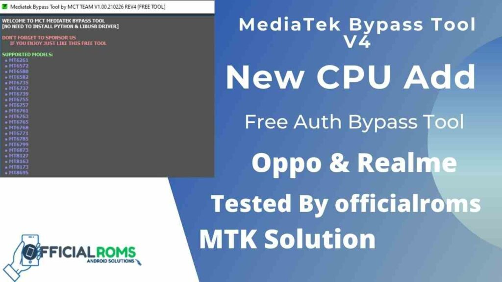 Mediatek Auth Bypass Tool Free Tool by MCT Team V4