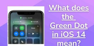 What does the Green Dot in iOS 14 mean?